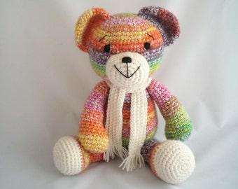 Large Crochet Teddy Bear / Amigurumi Teddy Bear /  Crochet Plush Bear / Giant sized Teddy Bear / Hand Made, Teddy Bear soft toy with scarf.