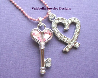 Necklace Key to my Heart rhinestone charm necklace Valentines Day jewelry love pink girls tween teen jewelry first anniversary gift for her