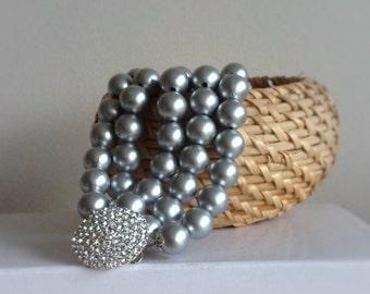 Chunky Pearl Bracelet, Wedding Pearl, Bridal Pearl Bracelet, Silver Pearl Bracelet , Weddings, bridal pearls,Handmade Pearl Bracelet