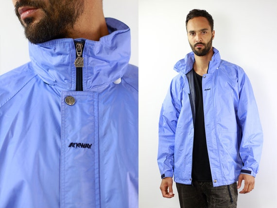 K-Way Jacket Blue Rain Jacket Vintage Rain Jacket Kway Jacket K-Way Coat Windbreaker Kway Jacket Men Kway Vintage Raincoat Blue Vintage Kway