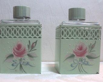 Boudoir Bottles, Tole Ware, Victorian, Set of 2, Tole Ware Sleeves, Hand Painted Roses, Bottles, Boudoir,  Vanity Bottles, Victorian Vanity