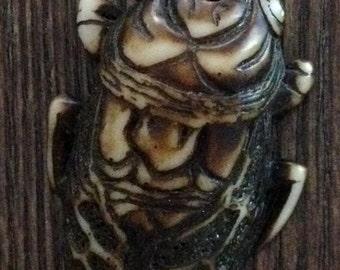 Large Resin Japanese Beetle Bead Pendant in Earthy Brown Tones