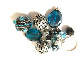 Turquoise and Black Beaded Key Chain / Purse Charm / Key Fob / Bag Fob / Purse Swag / Handbag Charm / Purse Jewelry