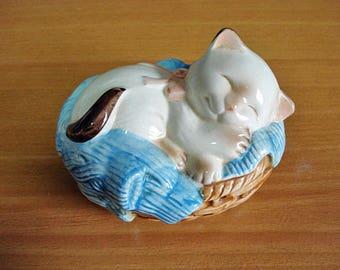 Avon Sleeping Kitten in a basket Potpourri -Vintage 1983