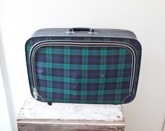 Vintage Plaid Suitcase - Blue and Green Suitcase Suit Case Large Travel Luggage