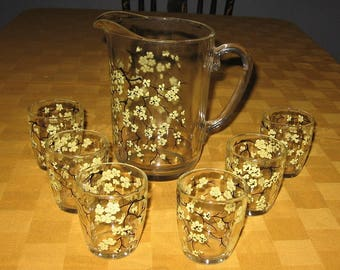 Glass juice pitcher with 6 juice glasses