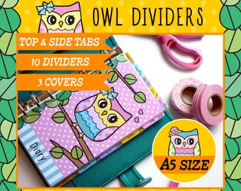 A5 Size Owl Dividers 5 Top Tabs, 5 Side Tabs, 3 Covers for Filofax A5, Louis Vuitton GM, Kikki.K Large, Printable PDF, Instant Download