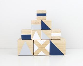 Wooden stacking blocks - navy, grey + white