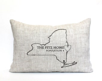 """personalized pillow, state pillow, name pillow, housewarming gift, mother's day gift, family pillow, anniversary gift  - """"The Fitz Home"""""""