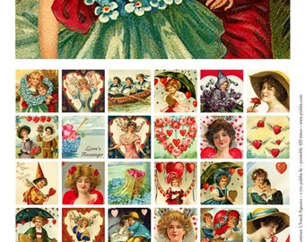 Printable Vintage Valentines in 1.5-inch squares -- piddix digital collage sheet no. 256