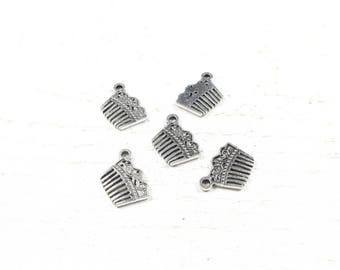 5 charms 18 x 13mm silver color metal comb