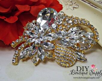 LARGE  Gold Wedding Brooch Pin Crystal Brooch Rhinestone Brooch Bouquet Crystal Wedding cake Brooch Sash Pin Back 82mm 958250