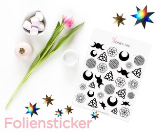 Foiled magical symbols Stickerset-watercolour sticker-Pretty planning-scrapbooking-bullet journaling