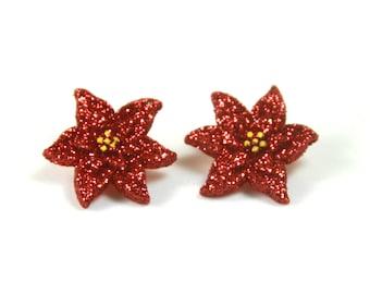 Poinsettia earrings, Poinsettia studs, Christmas earrings, Holiday earrings, Sparkly earrings, Christmas gift