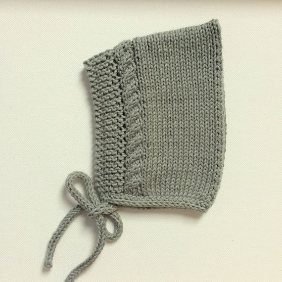 Cotton Cable Pixie Bonnet in Sage Green - Made to Order