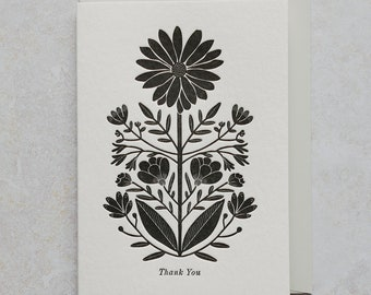 Letterpress Botanical Thank You Greetings Card