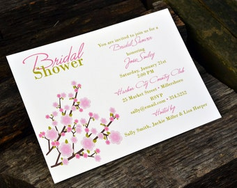 Cherry Blossom Bridal Shower Personalized Party Invitation