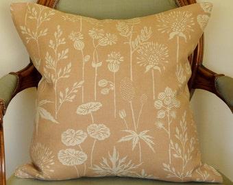 Blush Linen Flowers Pillow Cover