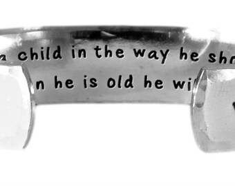 """Train a child in the way he should go, and when he is old.... Proverbs 22:6 - Hand Stamped Aluminum Cuff Bracelet 1/2"""" x 6"""" by Lulaport"""