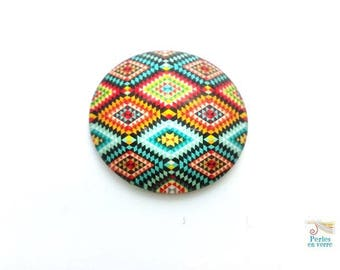 2 cabochons 25mm glass pattern fabric ethnic multicolor chevrons (cab131)
