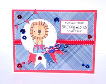 Happy Birthday Lion Greeting Card - Handmade Paper Card for Children, Kids Birthday Card, Circus Party Birthday Cards