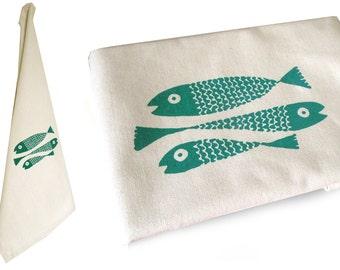 Fish , organic dish towel, organic cotton. Screen printed by hand.
