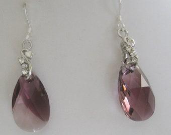 Bridesmaids Amethyst Swarovski Teardop Rhinestone Earrings- Bridal Jewelry - Wedding jewelry - Bridal accessories