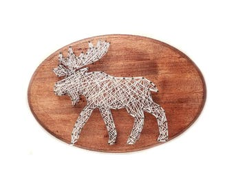 Moose DIY design, Moose String art, cabin decor, kid's craft, string art kit, nursery decor, birthday gift, craft activity, Woodland decor