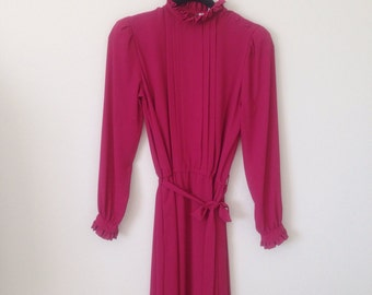 Vintage 70s 80s Cranberry Secretary Librarian Chic Pintucked Pleated Long Sleeve Midi Dress 6