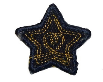 ID 3430B Blue Jean Stitched Star Patch Badge Craft Embroidered Iron On Applique