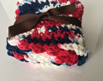 """Crochet dishcloth, size 8""""x8"""", blue,white and red color"""