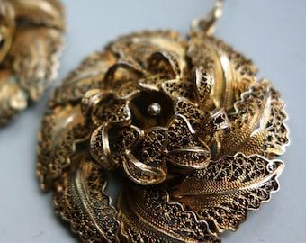 Filigree Sterling Gilt Flower Earrings