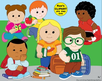 Back to School Kids digital clipart set
