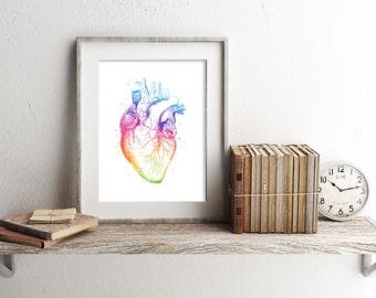 Heart Anatomy Print - Anatomy Art - Watercolor Heart - Medical Office Decor - Heart Art Print - Medical Student Gift - Watercolor Prints