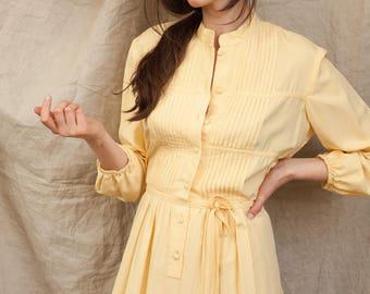 Butter Yellow Silk Dress