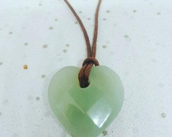 New Jade Necklace, Serpentine Crystal Necklace, Loveheart Necklace, Heart Crystal necklace, New Jade Crystal