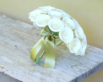 Large Ivory Bridal Bouquet with Pearl Accents and Satin Sage Ribbon - Paper Flower Bouquet - Alternative Bouquet