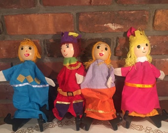 Wooden Hand Puppets - Lot of 4 - FREE SHIPPING