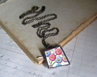 Recycled China Plate Necklace, Broken China Soldered Jewelry, Flowers