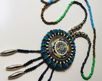 Boho Gypsy Blue & Green Intricate Beaded Long Necklace