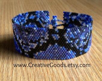 Snake Skin - Blue Bracelet Pattern - Peyote Pattern