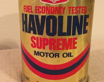 Texaco Havoline Supreme Motor Oil Full Can