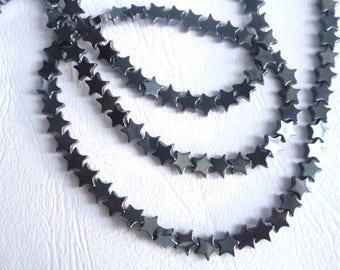 10 x 6mm Hematite star beads
