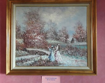 """Old french Oil Painting signed """"Yvonne Dupre"""""""