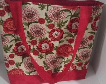 Tote bag, red rose print bag, travel bag, laptop bag, school bag, beach tote, knitting tote, quilted tote bag,book bag