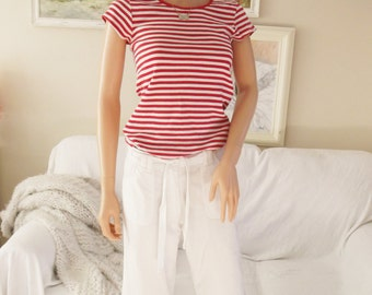 Size Small Unused white crop trousers White cotton cropped pants White pants White cotton cropped trousers White trousers Cotton trousers