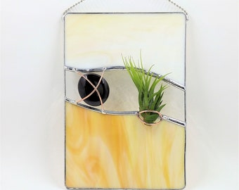 Stained glass air plant holder handcrafted by Bello Glass indoor gardening abstract wall art gift for mom bridesmaid birthday