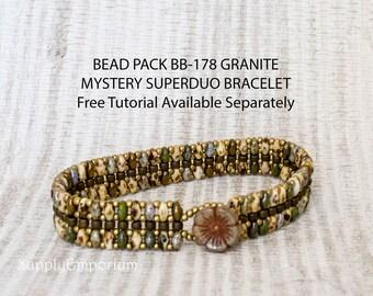 Granite 'Mystery Superduo'  Beadweaving Bracelet Bead Pack BB178 - Tutorial Available Separately, Bead Pack BB-178 Granite Mystery Superduo