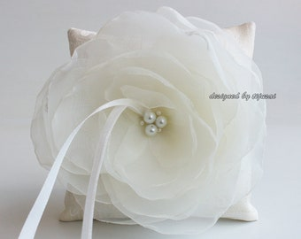 Wedding ring bearer pillow with ivory flower -ring bearer, ring cushion, ready to ship