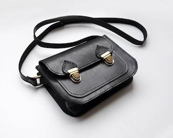 Leather satchel bag, Small black leather crossbody bag